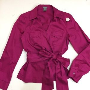 Just in💕 Ann Taylor Cotton Sateen Wrap Career Top